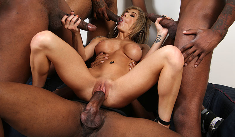 blonde sucks black cock gangbang