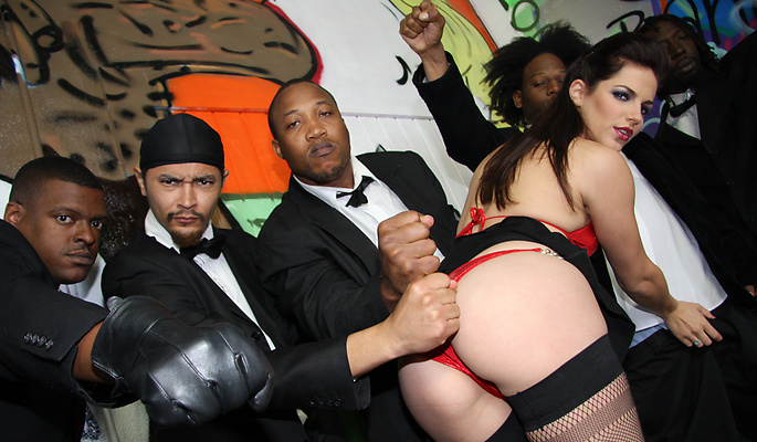 Bobbi Starr gang bang video from Interracial Blow Bang