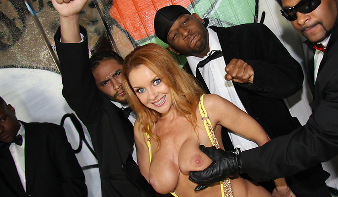 Janet Mason gang bang video from Interracial Blow Bang