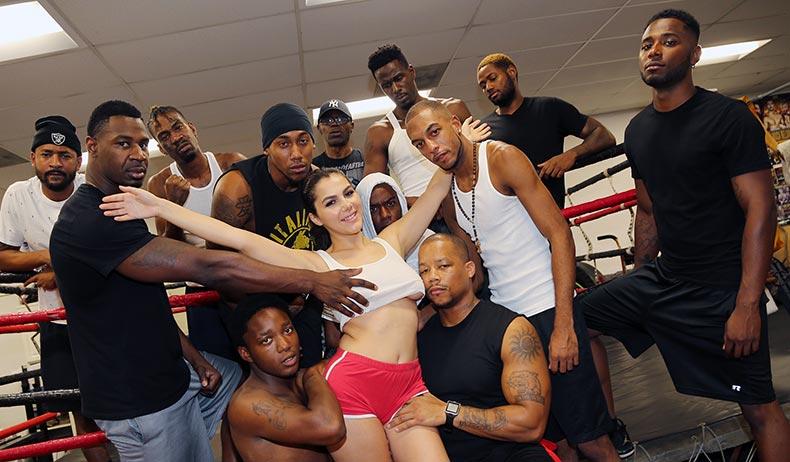 Valentinas Interracial Blowbang at the Gym
